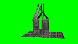 Dollar house on a green alpha background