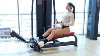 Fitness woman training in the gym. Back muscles