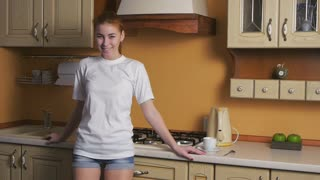 Girl flirting in the kitchen