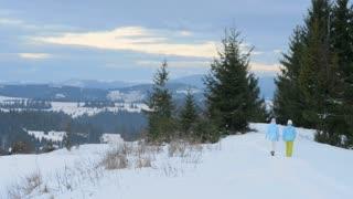 Girls walking in the woods, in winter
