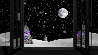Happy New Year,Christmas,winter background,window ,moon