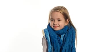 Little blonde girl posing emotionally
