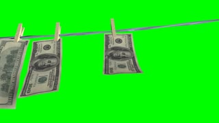 Money laundering on clothesline isolated on green alpha background