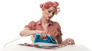 Pin-up girl ironed clothes