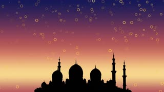 Ramadan Kareem islamic background.  Moonrise over the mosque and the light of the stars.