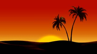Sunrise over tropical palm trees in the desert