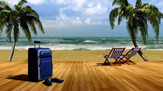 The journey to the sea, relaxing on the beach under palm trees