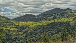 The movement of clouds high in the Carpathian Mountains (Timelapse) HDR