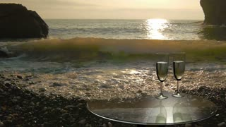 Two glasses near the sea, camping by the sea