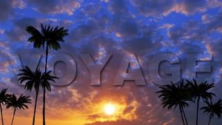 1 OyageLogo VOYAGE on the background of the palm forest at sunset