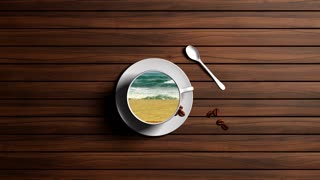 A cup of coffee, a transition, a trip to the sea rest, relaxation