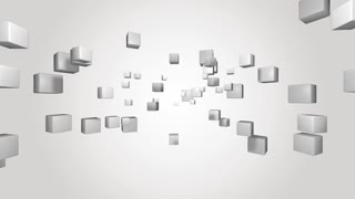A group of white cubes move against a white background