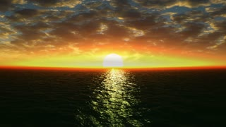 Beautiful sunset over the sea  and clouds