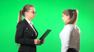 Boss scolds the secretary at the office, green screen, alpha