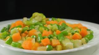 Frozen vegetables, lettuce on a plate
