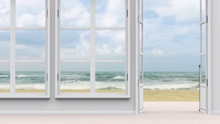 House with sea view, large window and sea beach view
