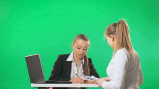 Interview in the office with the secretary, green screen, alpha