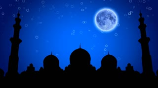 Muslim mosque at night under the moon
