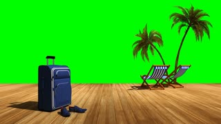 Relax on the beach with palm trees and sea, green screen alpha