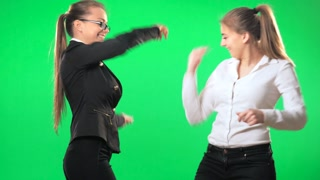 Secretaries in the office ridiculously discussed the victory in business, green screen, alpha