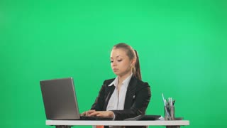The secretary pays the chief documents, green screen, alpha