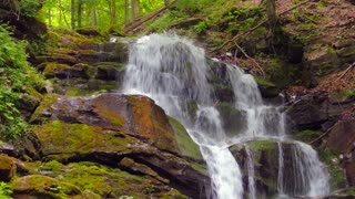 Waterfall in the mountains near the village Pylypets, Carpathians