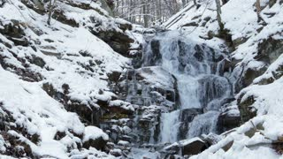 Winter waterfalls in the mountains
