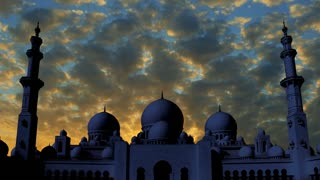 Sheikh Zayed Grand Mosque time lapse at sunset