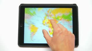 2 in 1 video! Hand work with world map on the touchscreen by white background
