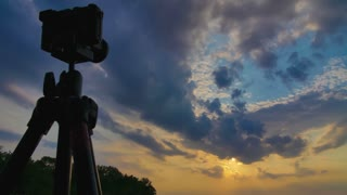 2 in 1 video! The camera shoot time lapse of the sun and puffy clouds above forest. Shot with Red Cinema Camera