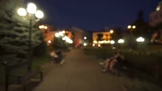 3 in 1 video! The walk on the city park. Night evening time. Wide angle. Real time capture