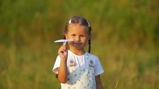 4 in 1 video! Small girl hold, launch paper airplane not successfully