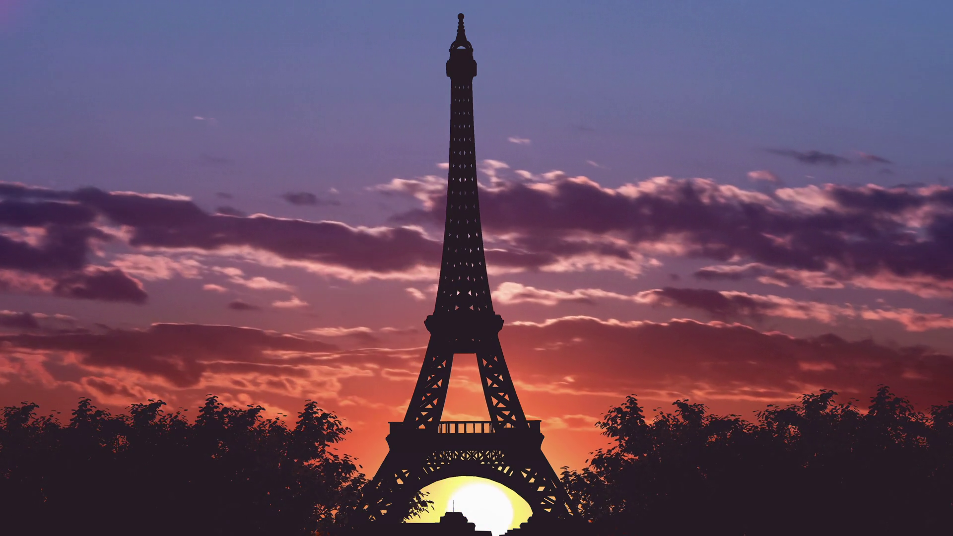 4 In 1 Video The Beautiful View Of The Eiffel Tower Against The Background Of Sunset Time Lapse Wide Angle Motion Background Storyblocks