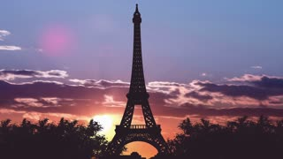 4 in 1 video! The beautiful view of the Eiffel Tower against the background of sunset. Time lapse. Wide angle