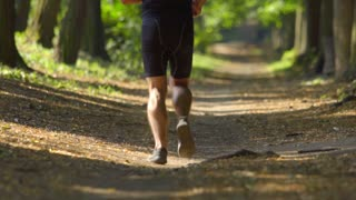 4 in 1 video! The sportsman run in the beatiful forest. Slow motion. Super telephoto lens shot