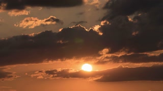 4 in 1 video! The sunset (sunrise) with clouds, close up zoom view. Shot with Red Cinema Camera