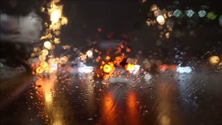 4 in 1 video! The view of the city through the blur windscreen. Left side traffic. Evening-night time, real time capture