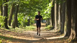 5 in 1 video! The athletic man run on the beautiful park alley. Slow motion. Super telephoto lens