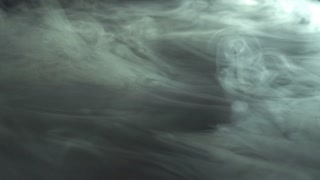 5 in 1 video! The flow of thick fume on the background of dark surface. Slow motion capture