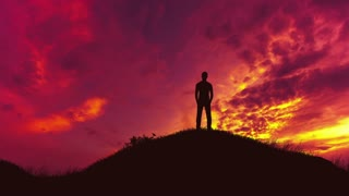 5 in 1 video! The man stand alone on the background of cloud flow. Time lapse. Wide angle