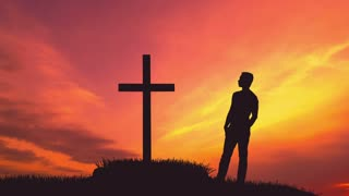 5 in 1 video! The man stand near the cross against the bright sunset. Real time capture. Wide angle