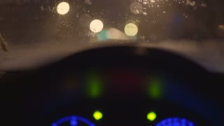 7 in 1 video! View from inside the car on the road during a snow. Evening-night time, real time capture