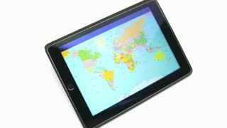 The hand (finger) work with world map on the touchscreen by white background
