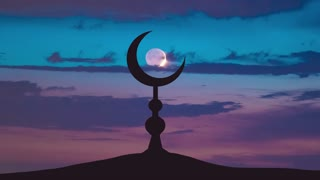 The Islam symbol against the background of the moon. Time lapse