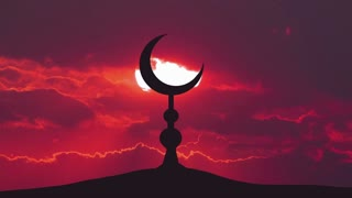 The Islam symbol against the background of the sun. Time lapse