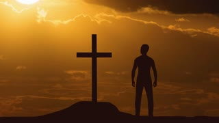 The man stand near the cross against the sunset. Time lapse. Wide angle