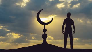 The man stand near the Islam symbol against the background of cloud. Real time capture