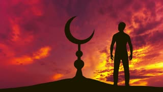 The man stand near the Islam symbol against the background of cloud stream. Real time capture