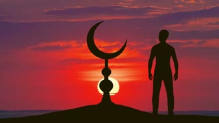 The man stand near the Islam symbol against the background of sunset. Real time capture