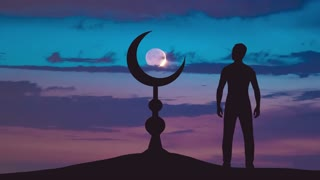 The man stand near the Islam symbol against the background of the moon. Real time capture